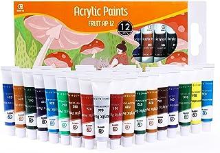 Lot de 12 tubes 12mL de peinture acrylique ESENG®, t, bois, toile, argile, tissu, Nail Art et céramique - Non Toxique pour...