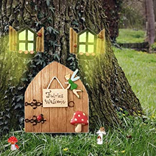 Fairy Doors for Tree Outdoor Decorations Garden Decorations Outdoor Garden Doors and Windows Gnome House Window and Door f...