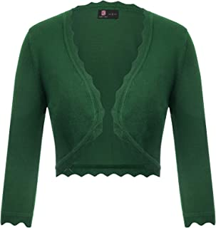 EXCHIC Women/'s Long Sleeve Button Down Cropped Bolero Cardigans