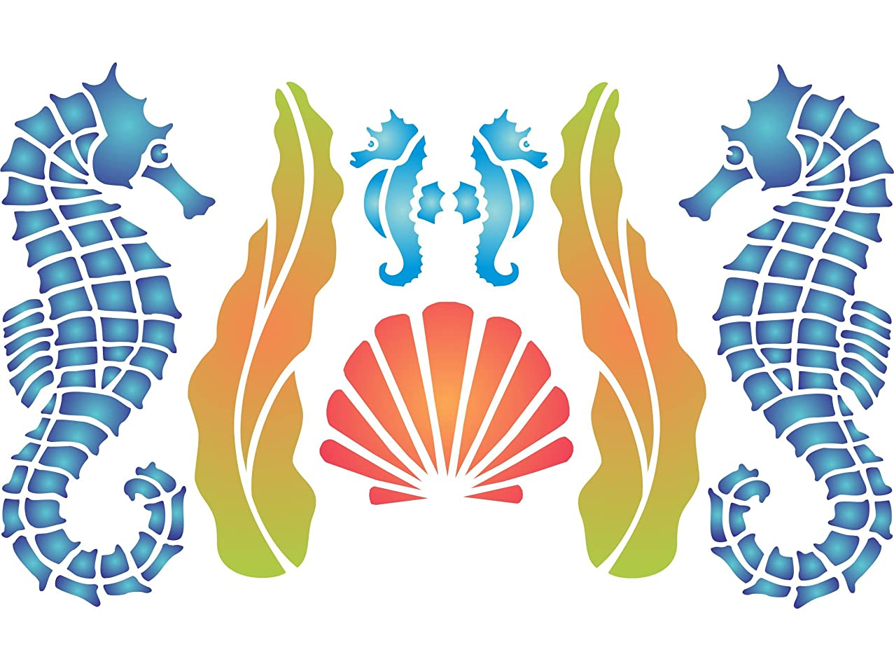 """Seahorse Stencil - (size 12.5""""w x 6.5""""h) Reusable Wall Stencils for Painting - Best Quality Wall Fish Animal Stencil Ideas - Use on Walls, Floors, Fabrics, Glass, Wood, Terracotta, and More…"""