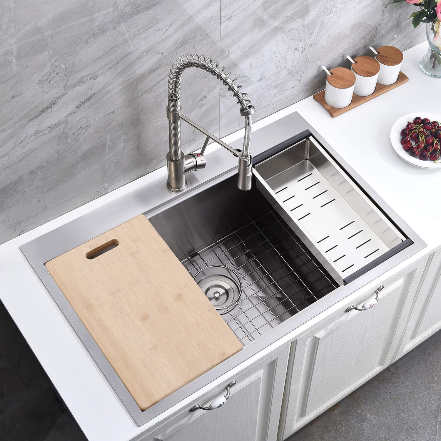 Friho 25x 22 Inch 18 Gauge Topmount Single Bowl Basin Handmade SUS304 Stainless Steel Drop in Kitchen Sink,Brushed Nickel Kitchen Sinks With Dish Grid,Dish Drainer,Cutting Board and Basket Strainer