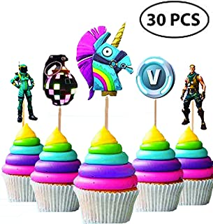 30Pcs | Cupcake Toppers and Cake Topper | Kids Party Supplies | Video Game Birthday Favors | Boys Party Sets |