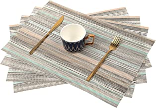 SAYOPIN Place Mats Set of 6 Heat Insulation Stain Resistant Placemats for Dining Table Durable Cross Weave Woven Vinyl Kit...