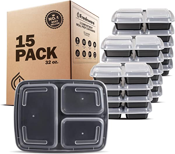 Freshware Meal Prep Containers 15 Pack 3 Compartment With Lids Food Containers Lunch Box BPA Free Stackable Bento Box Microwave Dishwasher Freezer Safe Portion Control 21 Day Fix 32 Oz