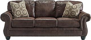 Benchcraft - Breville Traditional Faux Leather Sofa - Espresso