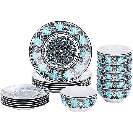 VEWEET, Série AUDRIE, Service de Table Complet en Porcelaine, Assiette BolPour 6 Personnes, Style Marocain Exotique