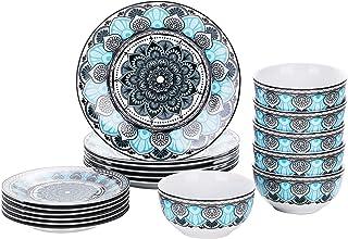 VEWEET, série Audrie, Service de Table Complet en Porcelaine, Assiette et Bol 18 pièces pour 6 Personnes, Style Marocain E...