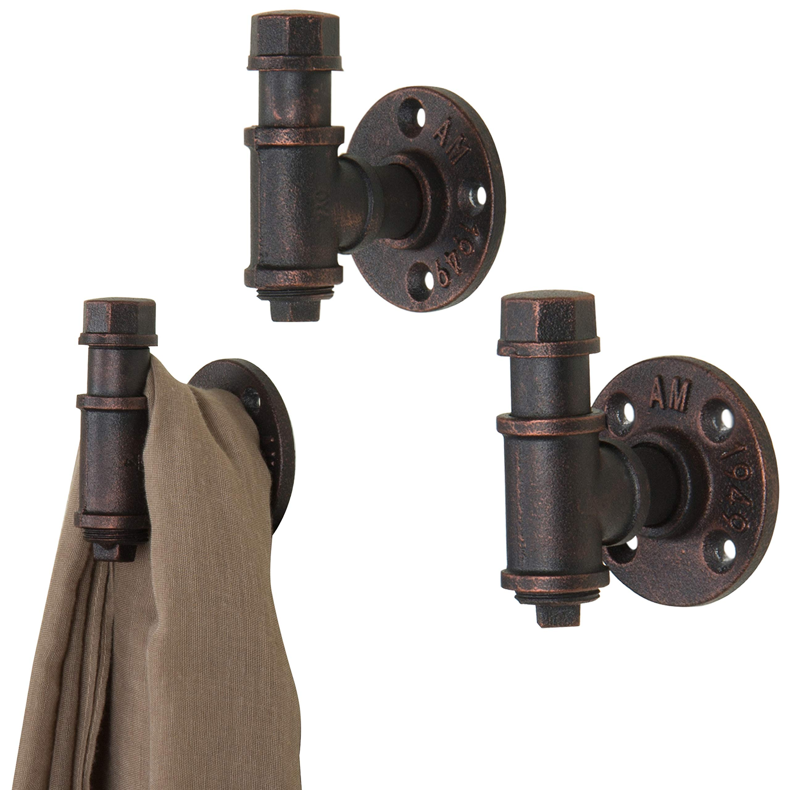Industrial Pipe Decor Coat Hook Set of 2 Electroplated Black Finish for Entryway Heavy Duty Wall Mounted 1//2 Threaded Floor Flanges Fittings and Elbows Rustic Metal Iron Two Floating Hooks Kit 1//2 Threaded Floor Flanges Fittings and Elbows LDR