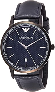 Emporio Armani Men's Ar2479 Dress Black Leather Watch, Blue Band, Analog Display