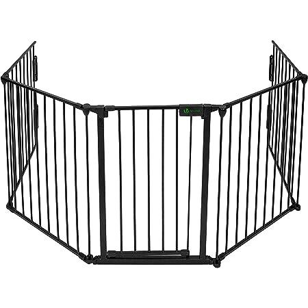 VOUNOT Cancelletto di Sicurezza Barriera Protettiva per Bambini, Camino, Cani, Animali, Stufa, 300 x 75 cm, Nero