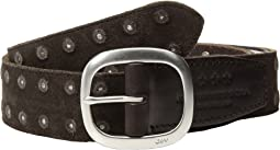 Distressed Suede Belt With Studs