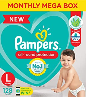 Pampers New Diaper Pants Monthly Box Pack, Large, 128 Count