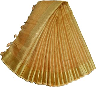 INDIA SILK PWCS LTD Women's Stylish Tissue Linen Saree with Raining Blouse (Golden)