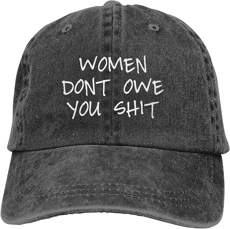 BGWORZD Women Dont Owe You Shit Adjustable Washed Unisex Dad Hat Cowboy Cap Denim Cap Baseball Cap
