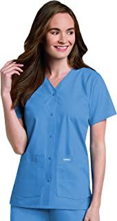 Landau Women`s 4-Pocket, Classic Relaxed Fit, V-Neck Snap Front Scrub Top 8232