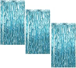 3Pcs 3.2ft x 8.2ft Light Blue Metallic Tinsel Foil Fringe Curtains for Halloween Party Bachelorette Birthday Wedding Baby Shower Engagement Holiday Party Decorations - Party Photo Backdrop