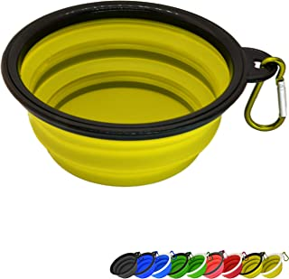 Zenify Dog Bowl - 400ml Collapsible Foldable Food and Water Feeder Dish - Portable Travel Leash Lead Slim Accessories for ...