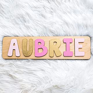 Name Puzzle Girl, Personalized Pink and Gold Christmas or Birthday Gift, Handmade in the USA by Page Brook Market