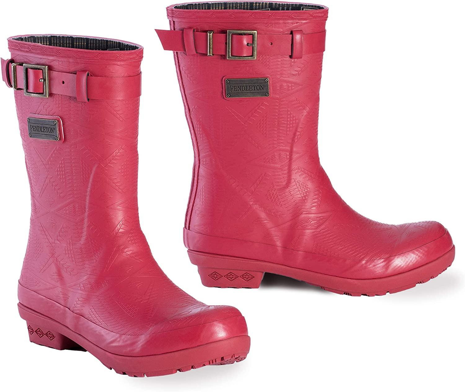 Pendleton Women's Heritage Embossed Solid Short Slip-Resistant Rain Boot with Brand Accessory on The Side