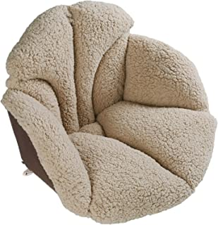 Hughapy Chair Cushions Desk Seat Cushion Warm Comfort Sherpa Wool Seat Cushion Pad for Support Waist Backrest, Winter Plush Cushion for Home Office Chair, Car Seat (Sherpa |19Wx16Lx15H, Khaki)