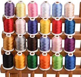 Simthread 24 Spools Trilobal Polyester Embroidery Machine Thread for Brother Janome Pfaff Babylock Singer Husqvaran Bernina etc Machines 1100 Yds Each #1