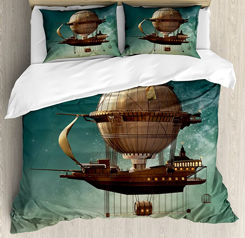 Ambesonne Fantasy Duvet Cover Set Queen Size, Surreal Sky Scenery with Steampunk Airship Fairy Sci Fi Stardust Space Image, Decorative 3 Piece Bedding Set with 2 Pillow Shams, Teal Brown