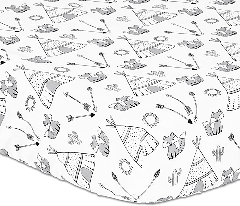 Grey Fox Teepee Cactus Print Fitted Crib Sheet 100 Cotton Baby Boy Southwest Native American Theme Nursery And Toddler Bedding