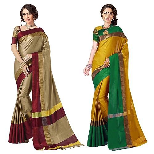3d177805c3 Art Decor Sarees Women's Cotton Silk Saree (Chiku Red & Yellow Green_Pack  ...