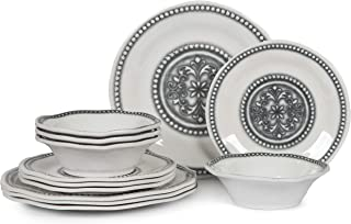 12pcs Melamine Dinnerware Set - Dinner Dishes Set for Indoor and Outdoot Use, Dishwasher Safe, Unbreakable, Durable, Ivory