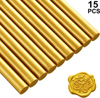 15 Pieces Glue Gun Sealing Wax Sticks for Retro Vintage Wax Seal Stamp and Letter, Great for Wedding Invitations, Cards Envelopes, Snail Mails, Wine Packages, Gift Wrapping (Gold)