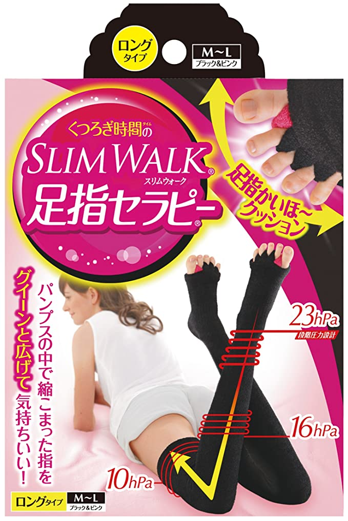 マーティンルーサーキングジュニア電化するメタルラインスリムウォーク 足指セラピー (冬用) ロングタイプ M-Lサイズ ブラック&ピンク(SLIMWALK,split open-toe socks,ML)