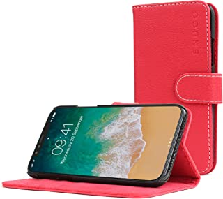Snugg iPhone XR Wallet Case – Leather Card Case Wallet with Handy Stand Feature – Legacy Series Flip Phone Case Cover in Red