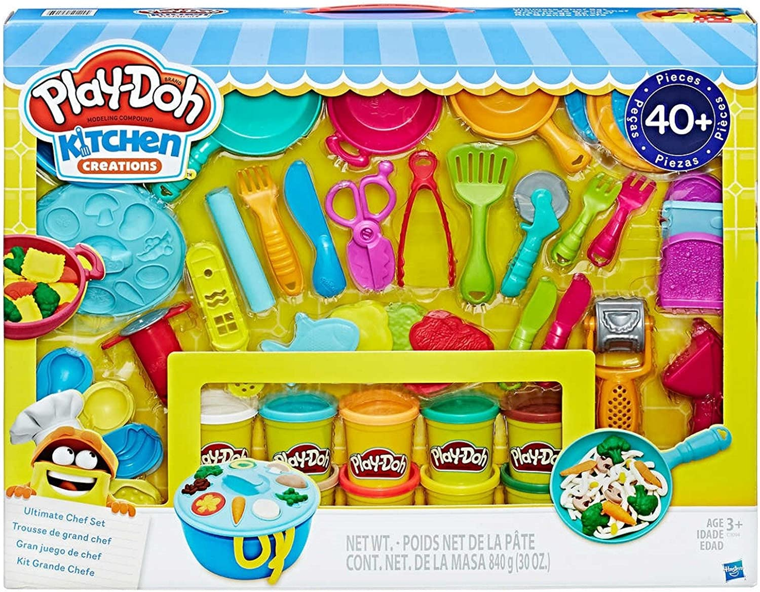 PlayDoh Kitchen Creations Ultimate Chef Set  Create and Make Meals with PlayDoh Kitchen Tools  40+ Pieces & 10 Cans of PlayDoh