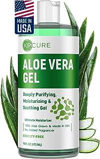 Aloe Vera Gel - Aloe Vera Moisturizer for Sunburn Relief - Made in USA - Pure Aloe Vera Extract for Face, Body & Hair - Or...