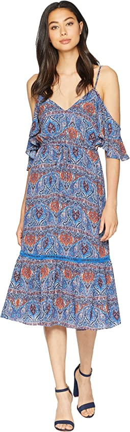 "Marrakesh Express ""Blue Dynasty"" Printed Crepe de Chine Dress"