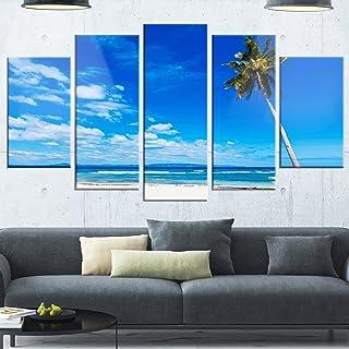 Designart Calm Summer Vacation Beach Philippines-Modern Seascape Glossy Metal Wall Art, 60x32-5 Panels Diamond Shape, Blu...