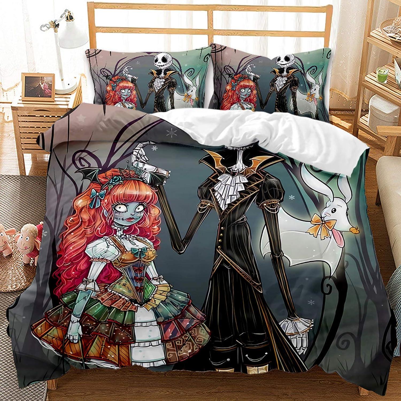 A,135X200CM Nightmare Before Christmas Copripiumino 3D Stampato Biancheria Da Letto Anime Biancheria Da Letto Set Trapunta Per Inverno Autunno Estate