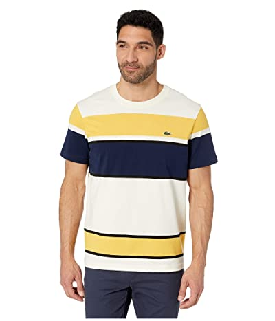 Lacoste Short Sleeve Color Block Jersey T-Shirt (Geode/Black/Physalis/Navy Blue) Men