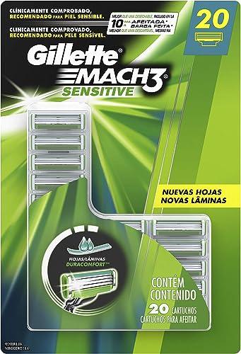 Carga para Aparelho de Barbear Gillette Mach3 Sensitive 20 unidades, Gillette