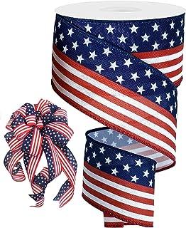 Americana Ribbon Vintage Flag Ribbon American Flag Ribbon Patriotic Ribbon 4th of July Ribbon 2.5 Flag Wired Ribbon USA Ribbon