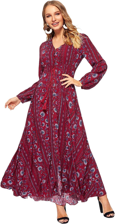 Milumia Women Tassel Tie Smocked Waist Button Up Botanical Dress Burgundy