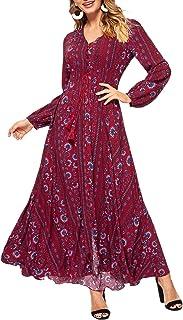 Women Tassel Tie Smocked Waist Button Up Botanical Dress Burgundy