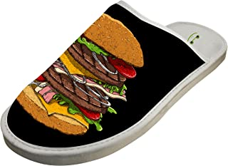 Hamburger House Slippers/Cotton Slippers/Flat Shoes/Indoor Slippers