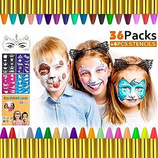 Gifort Pinturas Cara para Niños, 36 Colores Pintura Facial crayones de Pintura Carnaval Seguro y No Tóxico para Halloween, Fiestas, Semana Santa, Cosplay, Fiestas Temáticas