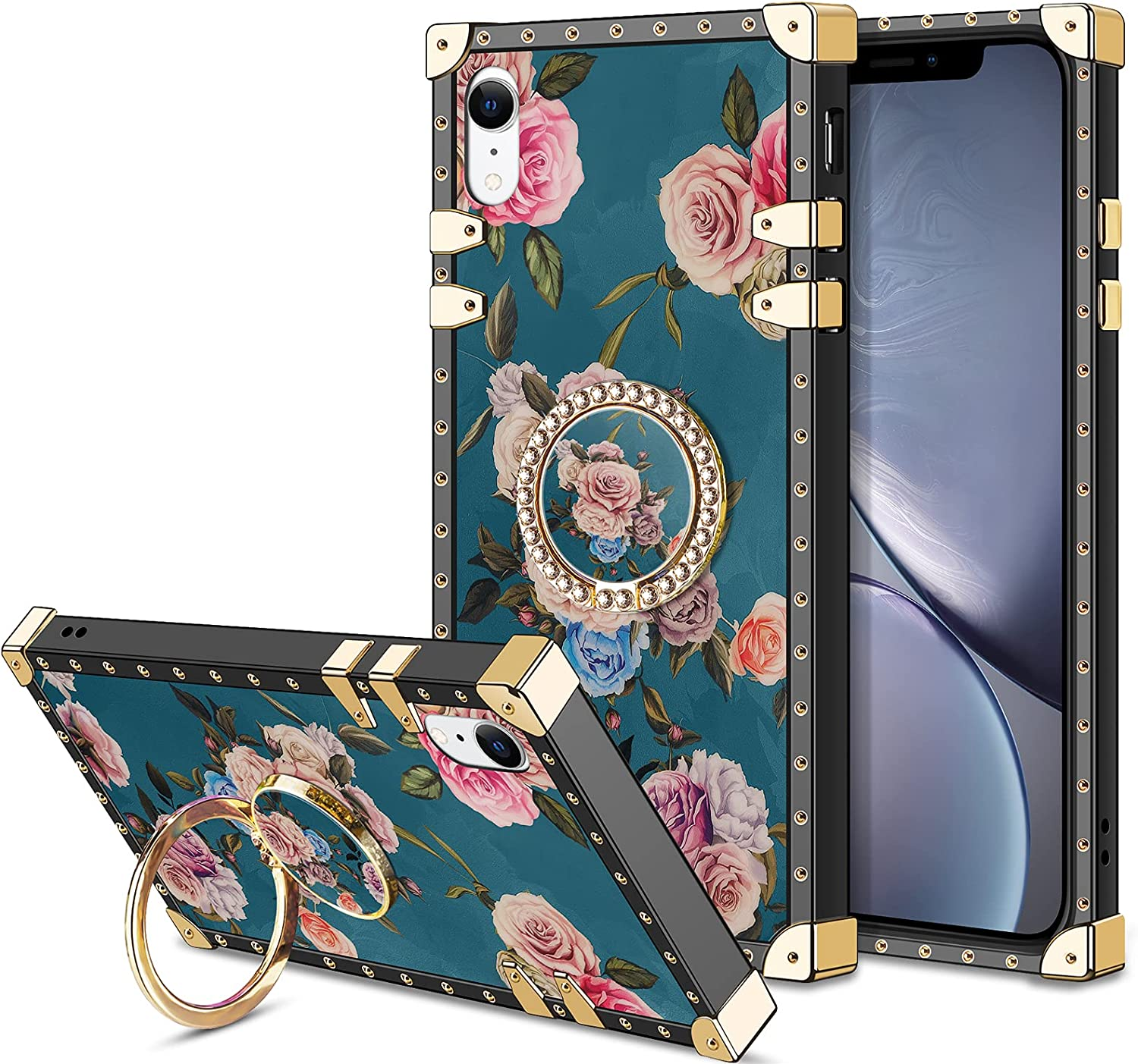 HoneyAKE Phone Case for iPhone XR Case with Kickstand Women Girls Soft TPU Shockproof Protective Heavy Duty Metal Cushion Reinforced Corner Case Bumper Compatible with Apple iPhone XR 6.1 inch, Peony
