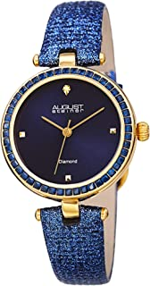 August Steiner Women's Crystals Watch - Baguette Crystal Bezel and Hour Markers on Patent Textured Leather Strap - AS8280