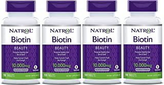 Natrol Biotin, Maximum Strength, 10,000 mcg Tablets 100 ea (Pack of 4)
