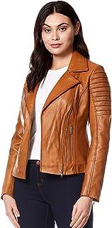 Carrie CH Hoxton Señoras Chaqueta de Cuero Estilo Elegante diseñador de Moda Suave Piel de Cordero Biker Estilo 9334