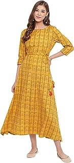 Janasya Women's Mustard Cotton Flex Ethnic Dress