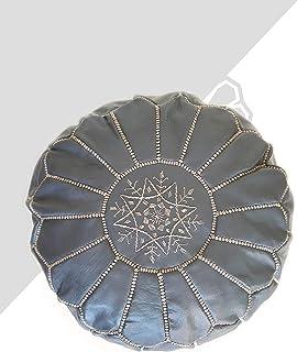 Kechart - Puf Marroquí azul acero cognac de cuero auténtico - Hecho a mano - Entregado con relleno - Otomano, cojin de sue...